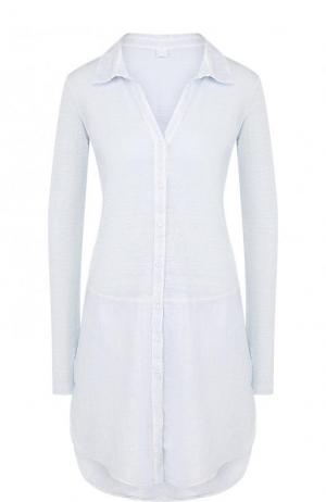 Однотонное льняное мини-платье с длинным рукавом 120% Lino. Цвет: голубой