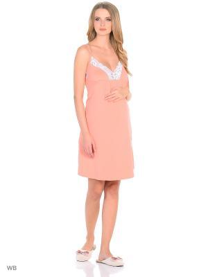 Ночная сорочка для беременных и кормящих FEST. Цвет: персиковый, белый