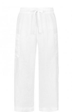 Укороченные льняные брюки с эластичным поясом Deha. Цвет: белый
