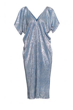 Сияющее платье свободного кроя с V-образным вырезом 190526 Cyrille Gassiline. Цвет: синий