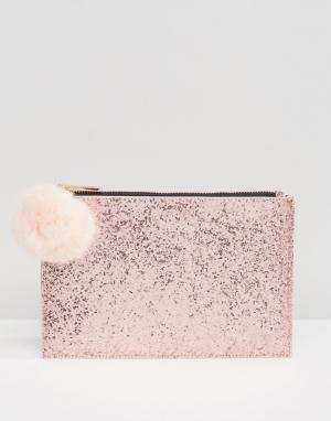 Skinnydip Блестящий клатч с помпоном из искусственного меха. Цвет: розовый
