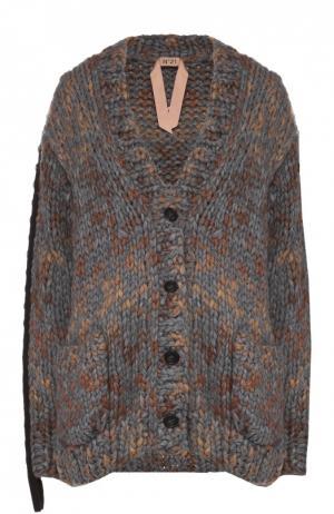 Кардиган фактурной вязки с накладными карманами No. 21. Цвет: серый