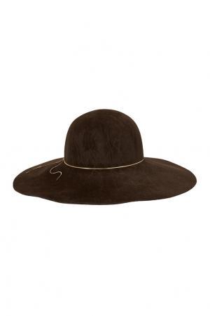 Широкополая шляпа Eugenia Kim. Цвет: коричневый