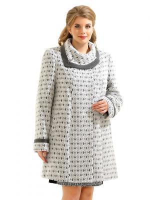 Пальто LikModa. Цвет: серый, белый