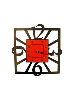 Часы настенные 290 х 300 мм. Металл, полимерная покраска Gala. Цвет: черный, красный