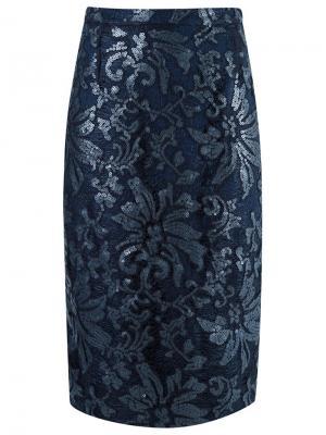 Lace midi skirt Gloria Coelho. Цвет: синий