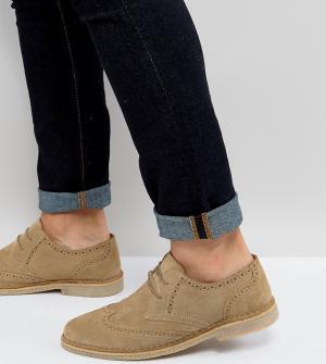 ASOS Замшевые туфли дерби для широкой стопы с натуральной подошвой. Цвет: светло-бежевый
