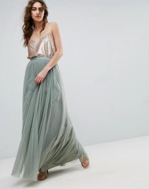 Needle & Thread Тюлевая юбка макси and. Цвет: зеленый