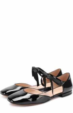 Лаковые балетки на шнуровке Marc Jacobs. Цвет: черный