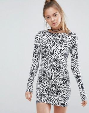 Illustrated People Облегающее платье со звериным принтом. Цвет: черный