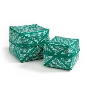 Комплект из 2 коробок для хранения Nerfertoum AM.PM.. Цвет: зеленый
