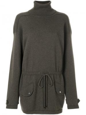 Длинный свитер с высокой горловиной Lamberto Losani. Цвет: зелёный
