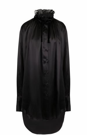 Удлиненная шелковая блуза с воротником-стойкой Ann Demeulemeester. Цвет: черный