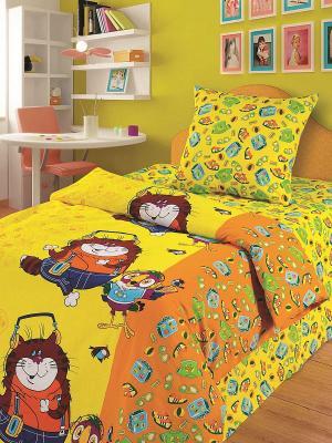 Комплект постельного белья 1,5 бязь Кеша и кот Союзмультфильм. Цвет: желтый