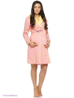 Халат для беременных и кормящих на запах с капюшоном Hunny Mammy. Цвет: розовый