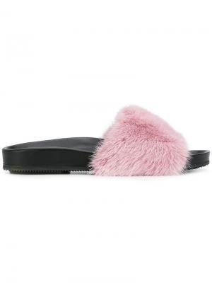 Шлепанцы с норковым мехом Gianna Meliani. Цвет: розовый и фиолетовый