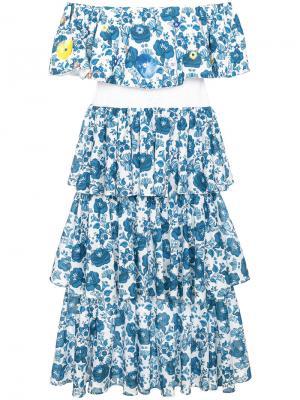 Многоярусное платье с цветочным принтом All Things Mochi. Цвет: синий