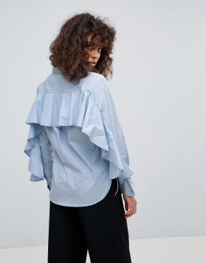 Neon Rose Рубашка с оборками на спине. Цвет: синий