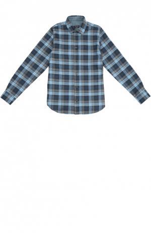 Хлопковая рубашка в клетку с воротником кент Dal Lago. Цвет: разноцветный