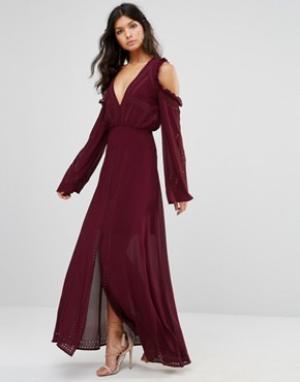 Foxiedox Платье макси с открытыми плечами и шнуровкой. Цвет: красный