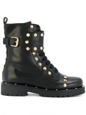 Ботинки в стиле милитари с заклепками Twin-Set. Цвет: чёрный