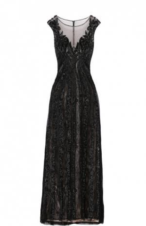 Приталенное платье в пол с декоративной вышивкой Basix Black Label. Цвет: черный
