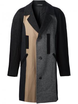 Однобортное пальто Icosae. Цвет: серый
