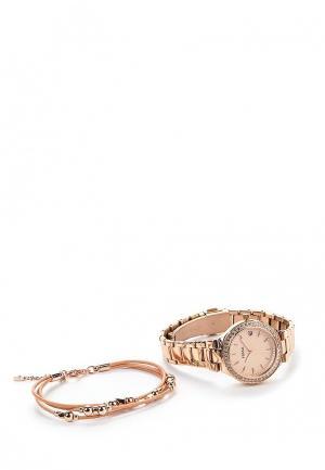 Комплект браслет и часы Fossil. Цвет: золотой