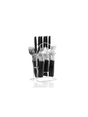 Набор столовых приборов на подставке Floret 24 предмета Elff Ceramics. Цвет: черный