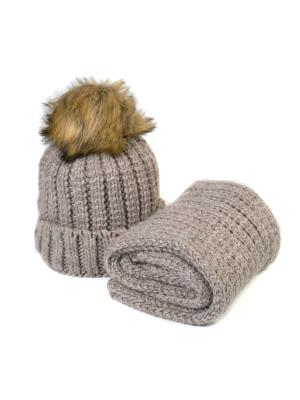 Комплект шапка и снуд Mitya Veselkov. Цвет: светло-коричневый
