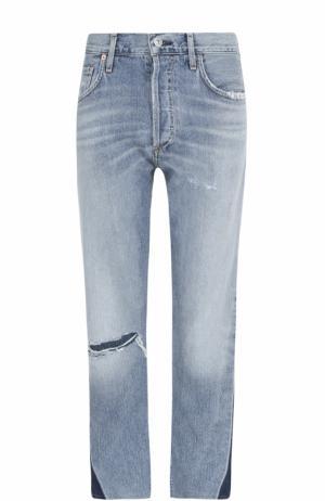 Укороченные джинсы прямого кроя с потертостями Citizens Of Humanity. Цвет: голубой
