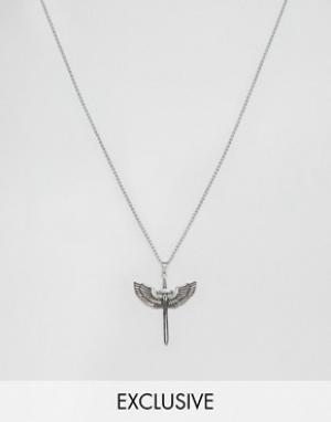 Seven London Серебристое ожерелье с подвеской эксклюзивно для ASOS. Цвет: серебряный