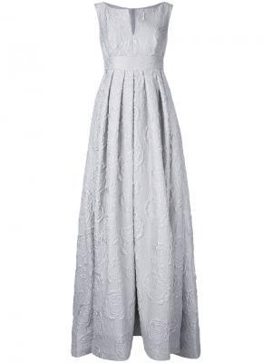 Вечернее платье с розами Dice Kayek. Цвет: серый