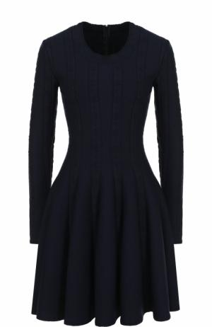 Приталенное мини-платье с длинным рукавом Alaia. Цвет: темно-синий