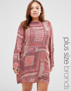 Diya Цельнокройное платье с платочным принтом Plus. Цвет: мульти