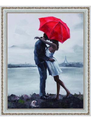 Картина стразами Поцелуй под зонтом АЖ-1408 Алмазная живопись. Цвет: белый
