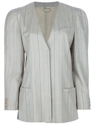 Костюм с юбкой в полоску Krizia Vintage. Цвет: коричневый