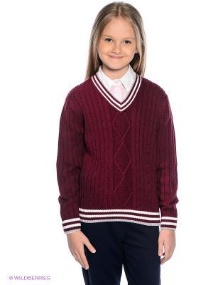 Пуловер PELICAN. Цвет: бордовый, белый, серый