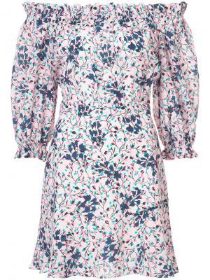 Платье мини с открытыми плечами Saloni. Цвет: синий