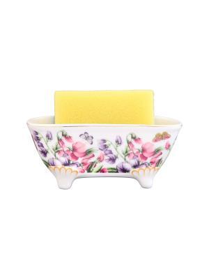 Подставка для губки Душистый цветок Elan Gallery. Цвет: белый, фиолетовый, розовый