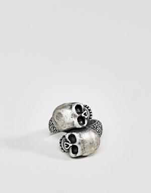 Steve Madden Кольцо с черепом. Цвет: серебряный