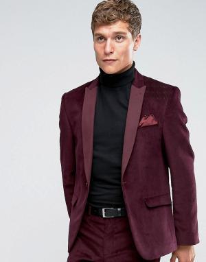 ASOS Бордовый бархатный пиджак слим. Цвет: фиолетовый