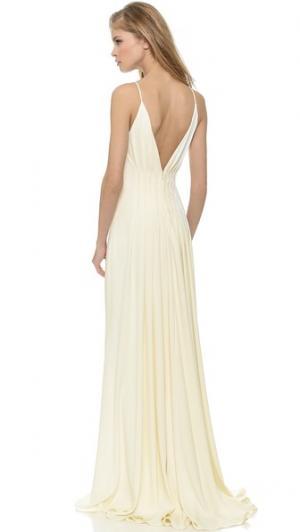 Вечернее платье с открытой спиной Badgley Mischka Collection. Цвет: золотой