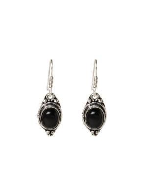 Серьги с черным агатом Indira. Цвет: черный