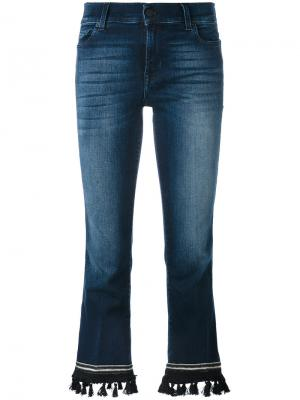 Укороченные расклешенные брюки 7 For All Mankind. Цвет: синий