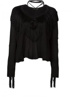 Блузка с бахромой Plein Sud. Цвет: чёрный