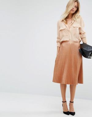 BOSS Orange Плиссированная юбка миди бронзового цвета By Hugo. Цвет: медный