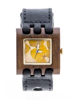 Часы Mistura QUADRATO SE Black/Yellow Flowers. Цвет: черный