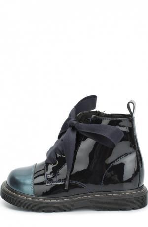 Лаковые ботинки с контрастным мысом Clarys. Цвет: синий