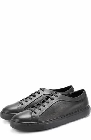 Кожаные кеды на шнуровке с внутренней меховой отделкой Fratelli Rossetti. Цвет: черный